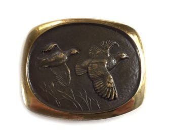 Flying Quail Solid Bronze Belt Buckle 1978 Sculpted by Steven L Knight