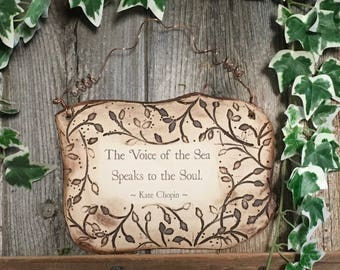 The Voice of the Sea Kate Chopin Quote Ceramic Plaque