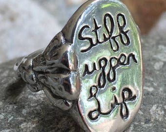 Sterling Stiff Upper Lip Signet Ring