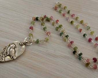 Delicate sterling silver & tourmaline beads sparrow pendant necklace