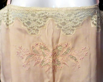 Darling 20s Pink Embroidered/Lace Silk Lingerie Onesis