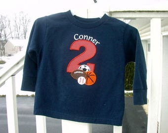Sports Ball Birthday T Shirt, Personalized, Toddler Boy Navy Long Sleeves