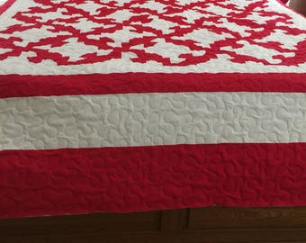 Quilt Drunkards Path Red and White XL KING Ready to Ship