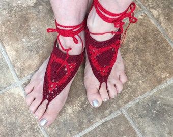 Barefoot Sandals - Ready to ship - Beach wear - Red and burgundy sandals - Casual Footwear - Yoga - Dance Costume - Birthday Gift