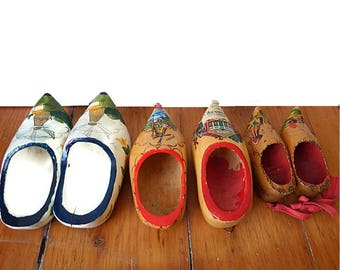 Trio  Vintage Wooden Shoes from Holland/ Small Wooden Clogs Netherlands/ Hand Painted Shoes/ Instant Souvenir Collection