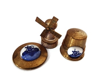 Three Dutch Brass Miniatures/ Delft Dollhouse Decor/Miniature Vintage Thimble, Windmill and Platter from Holland