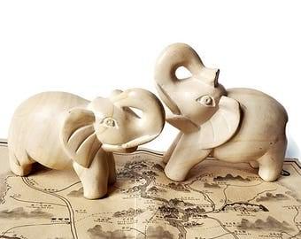 Pair Hand Carved Stone Elephants, Mid Century Stone Elephant Sculpture, Collectible Elephant Figurine