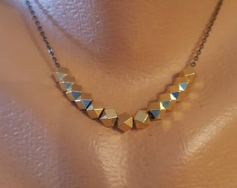 Choker Necklace 22k gold filled beads brass chain Boho necklace gold necklace
