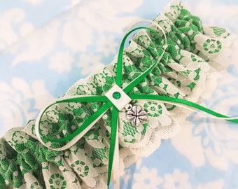 Green and white Wedding Garter -  emerald - st patricks day- Ivory Lace - shamrock garter - satin and lace garter - bridal garter - irish