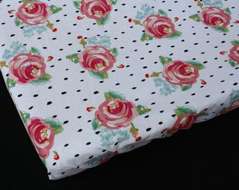 Fitted Crib Sheet/Changing Pad Cover/Mini Crib Sheet in Hot Pink Watercolor Roses on White with Black Polka Dots  -Mommy Moxie on Etsy