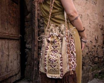 Gypsy Earthy bag with Tribal print 4 pockets Purse shoulder bag