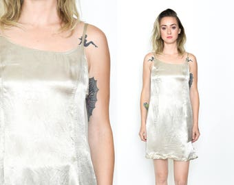 SILVER SLIP SATIN Mini Dress. 90's Vintage Grunge Mod Vintage. Silky Satin. Spaghetti Strap Size Small/Medium. Silver Grey Shiny Slip Dress.