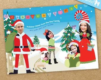 Funny Christmas Scene Holiday Photo Card, Cute Santa Family Photo Card - DiY Printable, Print Service Available || The Merry Christmas Scene