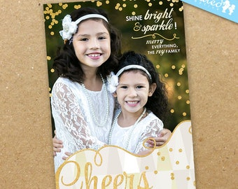 Gold Sparkles Christmas Photo Card, Modern Holiday Card, Unique Whimsical New Years Photo Card - DiY Printable || Bright + Sparkle Cheers