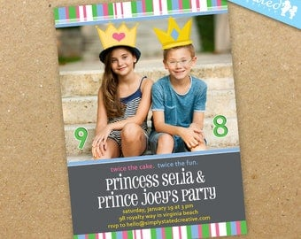 Royal Birthday Invitation, Printable Princess Prince Invite, Joint Party Photo Invite, Dual Party - DiY Printable || My Prince + Princess