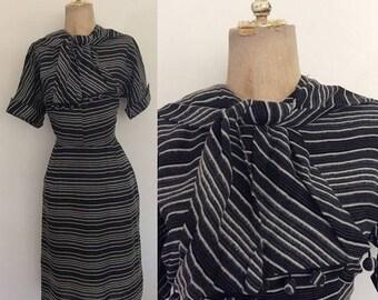 30% OFF 1970's Black & Grey Striped Wiggle Dress w/ Pompom Ascot Bow