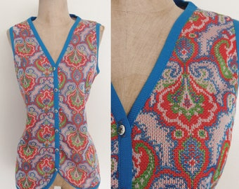 1970's Red & Blue Paisley Print Polyester Vest Retro Hippie Size Large by Maeberry Vintage