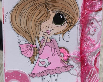 Birthday Card, Donut Themed Birthday Card, Sherry Baldy Girl with Donut, Copic Colored Birthday Card