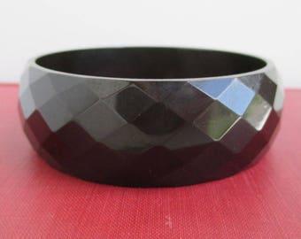 Wide Bakelite Bangle Bracelet - Nice Diamond Pattern, Black / Dark Brown