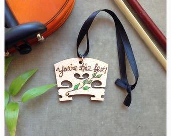 Personalized Small Note on Wood Violin Bridge Ornament