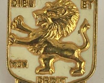 Sale  Vintage Accessocraft Heraldic Brooch Pin Dieu Et Mon Droit