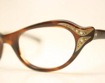 Unused Tortoise Rhinestone Vintage Cat eye glasses cat eye frames NOS