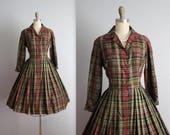 STOREWIDE SALE 50's Shirtwaist Dress // Vintage 1950's Rich Plaid Full Pleated Garden Party Picnic Shirtwaist Dress S
