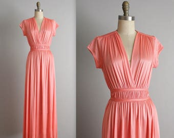 70's Coral Maxi Dress // Vintage 70's Draped Coral Jersey V Neck Maxi Goddess Dress S M
