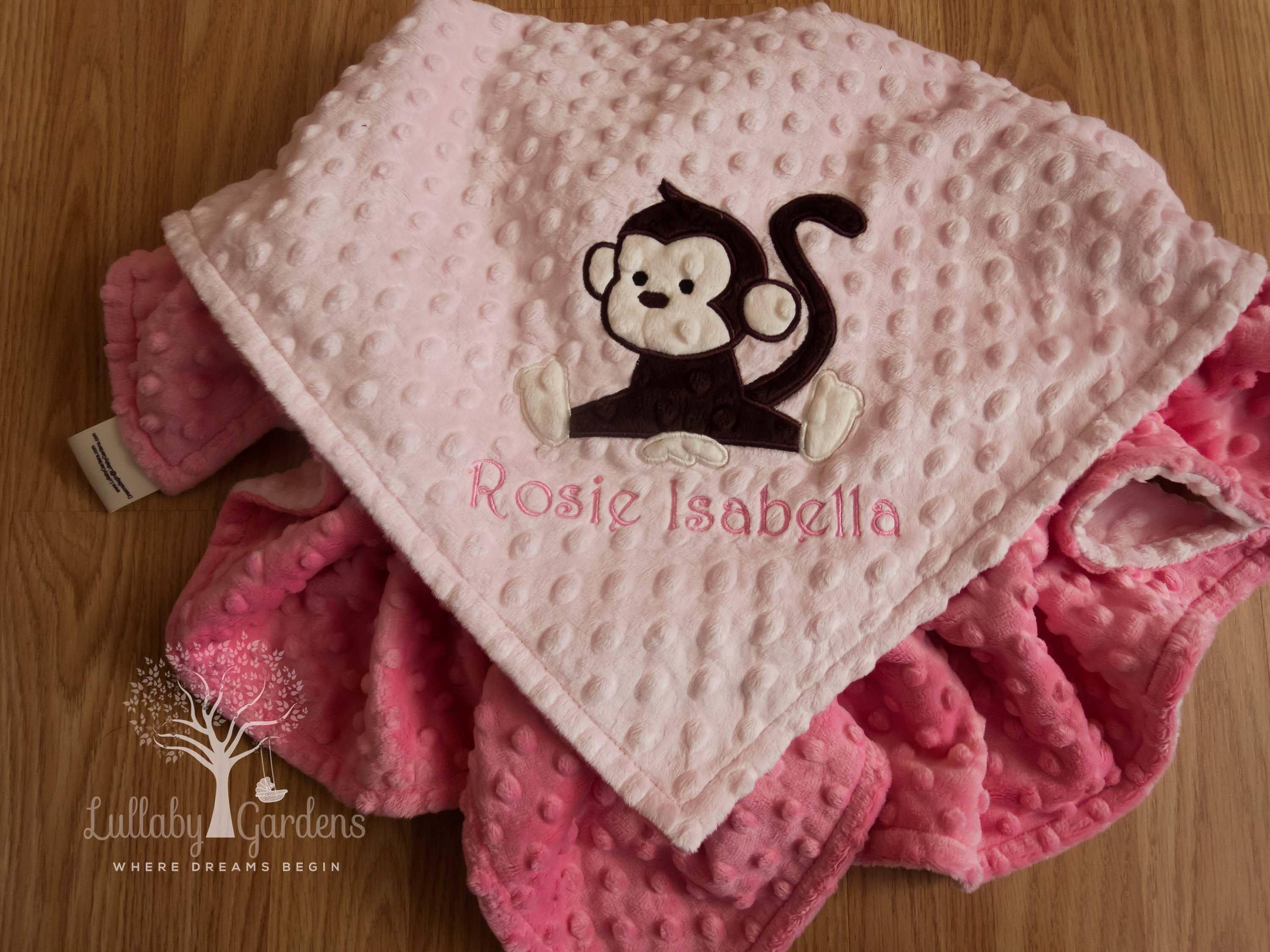 Personalized baby gifts monkey minky baby blanket baby girl zoom negle Image collections