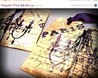 4 Black and Purple Paris Hang Tags - Tea Dyed - Chandelier