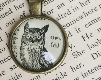 OWL necklace - owl pendant - owl illustration - vintage owl - bookish gifts - owl gifts - bird pendants - nature gifts - owl keychain