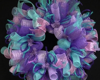 10% OFF Spring to Summer Wreath, Purple Lavender Turquoise Wreath, Deco Mesh, Poly Mesh Wreath (1164)