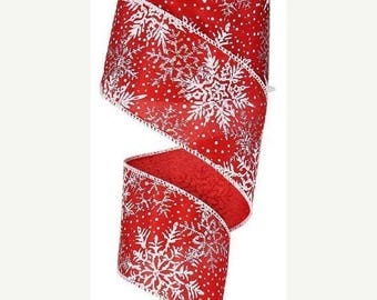 SUPPLY SALE 2.5 Inch White Red Silver Glitter Printed Snowflakes Ribbon RX39282A, Deco Mesh Supplies