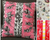 SEASIDE MARINE Campervan Beach Hut cushions! in genuine 50s 60s fish aquatic themed fabric
