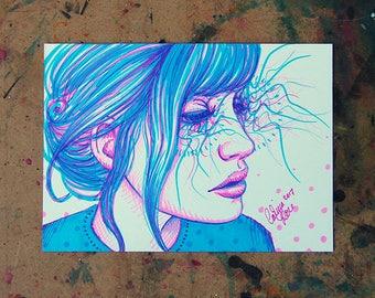 ORIGINAL DRAWING Sharpie Pop Art Artwork 5x7 inches - Pretty Pop Art Girl Portrait Pink and Blue