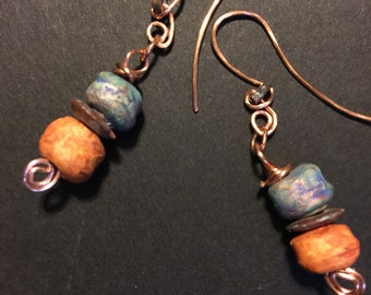 Statement rustic clay earrings