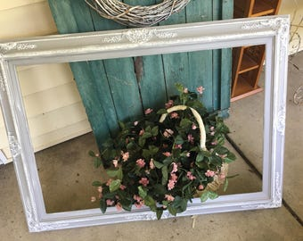 Shabby Chic, Ornate Mirror, Shown in Grey and white ,Custom Size Mirror, Made of Wood. 44 x 32.Other Sizes, just Ask!