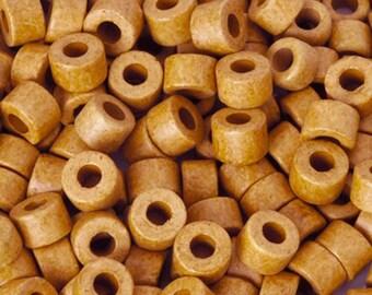 Bulk Ceramic Beads-4x6mm Tube-Damask Ochre-Quantity 500