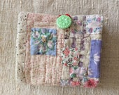 Needle book, case, vintage / antique quilt pieces, seed sack fragments with vintage button, small pocket