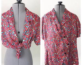 SALE Vintage 90s Asymmetrical Blouse, Short Sleeve Blouse, Print Blouse, Tie Blouse, Wrap Blouse, Women's Clothing, T Shirt, Summer Blouse