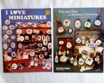 Vintage – I Love Miniatures and This and That … A Stitcher's Greeting Counted Cross Stitch Books – Set of 2