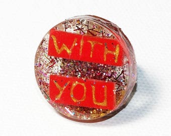 Ring round to messages, love, resin and polymer clay, glitter, teen/adult