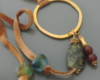 Leather Necklace - Carnelion Necklace - Gemstone Necklace - Long Necklace - Boho Necklace - Statement Necklace - OOAK - Brass Necklace