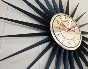 Classic Vintage Starburst Wall Clock - Sunburst Atomic Eames Era Mid Century Modern 1950's 60's Silver Black