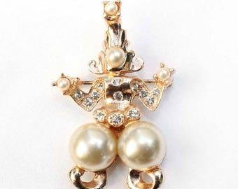 20% OFF SALE - Vintage Siam or Persian Dancer Pearl and Rhinestone Brooch