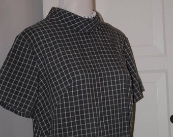 ON SALE 60s Shift Dress, Gray and White Checks, Cotton, Short Sleeves, Size L,