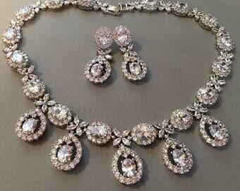 Rhinestone Wedding Necklace Earrings Set with Pear shape Teardrop Clear Cubic Zirconia Rhinestones in Rhodium plated setting