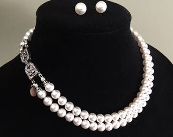 Double Strand Pearl Necklace with Pearl Stud Earrings 2 strands Swarovski pearls in White or Cream Ivory with Art Deco rhinestone clasp