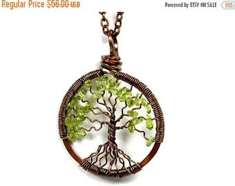 20% OFF Vacation SALE The Spindly Roots Petite Tree of Life Antiqued Copper Necklace in Peridot.
