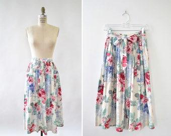 Vintage Skirt • Cotton Midi Skirt • Floral Skirt • 80s Skirt • Midi Skirt with Pockets • Elastic Waist Skirt • Summer Skirt | SK609